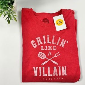 Life is Good Grillin like a Villain T-shirt Size L